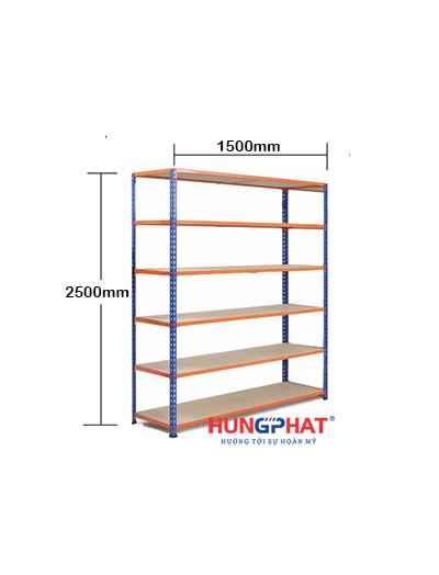 Kệ kho hàng sàn gỗ D1500 x S600 x C2500mm x 6 sàn
