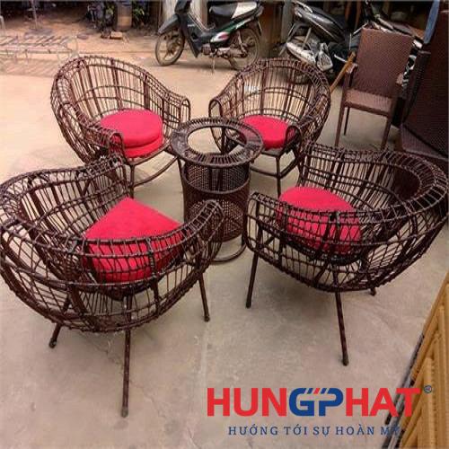 Bàn ghế cafe 4 ghế đan sợi to