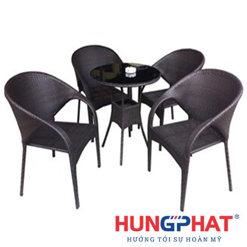 Bàn ghế cafe kiểu ghế tay vặn to