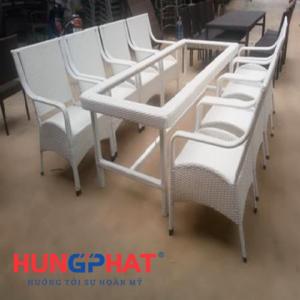 Bàn ghế mây nhựa phòng ăn 8 ghế màu trắng