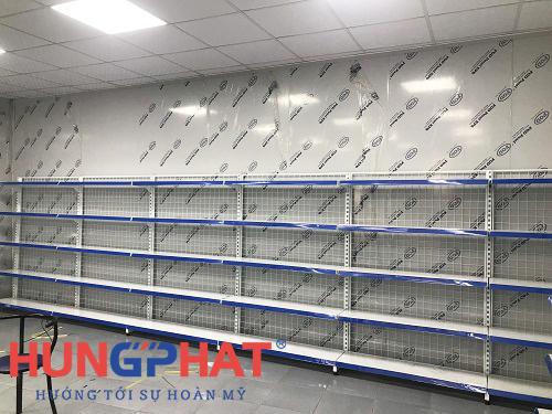 lắp đặt 37 bộ kệ siêu thị tại khoái châu hưng yên