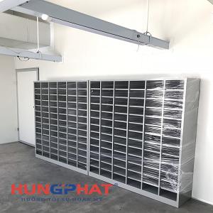 Lắp đặt tủ để giày dép 78 ngăn tại công ty May Hồng Thái Quỳnh Phụ, Thái Bình