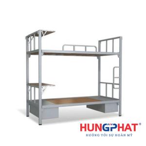 Giường tầng sắt có bàn học và hộc