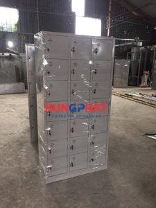 Tủ locker 21 ngăn phân phối cho khách hàng tại Quán Thánh